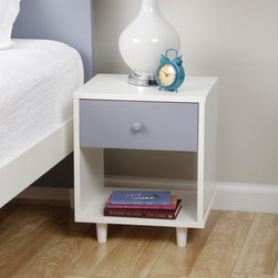 None - Beckham Grey Nightstand - The mid-century Beckham nightstand in a fun shade of grey will add simplistic style to your bedroom.  A small drawer and an open shelf lets you store everything you need.