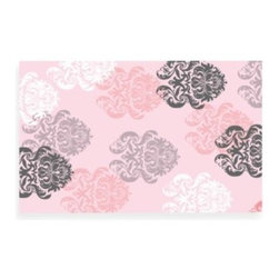 Rug Market - Brocade Pink Rug - Ideal for a child's room, this lovely rug featuring a charming brocade design will be a beautiful addition to any decor. Hand-hooked and flannelled.
