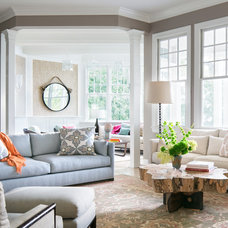 Transitional Family Room by Stone Creek Builders