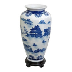 """Oriental Furniture - 14"""" Landscape Blue and White Porcelain Tung Chi Vase - A high shouldered flower vase design, perfect for dry or silk flowers as well as lucky bamboo displays. High temperature fired Chinese porcelain ceramic in a classic shape, popular in East Asia since ancient times. Decorated with a blue on white oriental landscape pattern. A perfect gift idea for holidays, weddings, anniversaries, or housewarmings."""