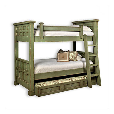 Liz Ann's Interior Design Boutique - The Kristina twin over twin bunk bed with additional pullout trundle sleeps three with the same beautiful decorative panels and moulding detail as the original Kristina Bunk Bed.  Choose from a large selection of gorgeous finishes.  Shown in Vintage Sage.  *More than one finish color and custom sizes are available at an up charge.  Overall Dimensions: 59Wx71Hx91L.