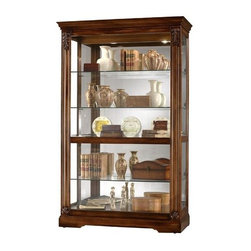 Howard Miller - Howard Miller - Ramsdell Curio Cabinet - Ideal for collectors, the Ramsdell wide traditional curio is larger than regular display cases and provides much more room on its five broad shelves. Its cushioned metal shelf clips and door locks create added security and peace of mind. * The front door slides of this extra wide and deep display cabinet slides in both directions for easy access to the shelves and features acanthus leaf column caps over a contoured columnA special feature is the interior power receptacle cordPad-LockT cushioned metal shelf clips increase stability and safetyLocking door for added security. Three adjustable glass shelvesGlass shelves can be adjusted to any level within your cabinetGlass mirrored back beautifully showcases your collectiblesPlate grooves in the glass shelves allow for vertical display of your collectible platesNo-ReachT light switch is conveniently located on the back of the cabinet. The lights are incandescentFinished in Tuscany Cherry on select hardwoods and veneers. The thickness for all four glass shelves: 0.312 in.80 in. H x 50 in. W x 21.5 in. D