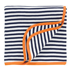 Better Basics Receiving Blanket & Giraffe Gift Set, Orange Cotton - With classic stripes and a contrasting binding, this is just the kind of blanket that would become a household staple.