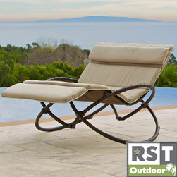 Red Star Traders - RST Delano Double Orbital with Cushion Lounger Set - Featuring a unique and comfortable design, this orbital patio lounge chair allows you to lean back comfortably. This lounge chair comes in a light tan and a unique metal stand that brings elegance and sophistication to your patio or your deck.