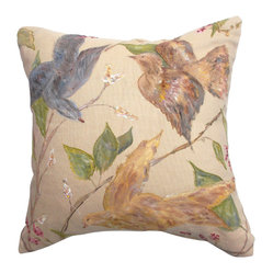 5 Surry Lane - Designer One-of-a-Kind Hand Painted Birds Pillow - It doesn't matter if your couch is red, blue, green or brown, this pillow will integrate seamlessly. The beautiful hand-painted design set upon a golden-hued fabric works with any color couch you put it on.