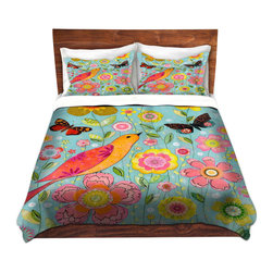 DiaNoche Designs - Duvet Cover Microfiber by Sascalia - Flower Meadow - DiaNoche Designs works with artists from around the world to bring unique, artistic products to decorate all aspects of your home.  Super lightweight and extremely soft Premium Microfiber Duvet Cover (only) in sizes Twin, Queen, King.  Shams NOT included.  This duvet is designed to wash upon arrival for maximum softness.   Each duvet starts by looming the fabric and cutting to the size ordered.  The Image is printed and your Duvet Cover is meticulously sewn together with ties in each corner and a hidden zip closure.  All in the USA!!  Poly microfiber top and underside.  Dye Sublimation printing permanently adheres the ink to the material for long life and durability.  Machine Washable cold with light detergent and dry on low.  Product may vary slightly from image.  Shams not included.