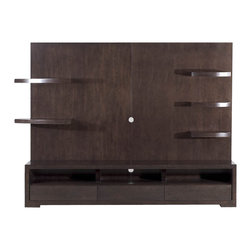 Sheres - Wall Unit - Full wall entertainment center. Each shelf has an LED light to help display the objects below it. Soft close drawers and wire management built in. 5 lighted shelves, 3 drawers, 3 component compartments.