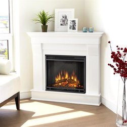 Real Flame - Chateau Corner Electric Fireplace in White - 1400 Watt heater, rated over 4700 BTUs per hour. Programmable thermostat with display in Fahrenheit or Celsius. Ultra Bright LED technology with 5 brightness settings. Digital readout display with up to 9 hours timed shut off. Dynamic ember effect. Fireplace includes wooden mantel, firebox, screen, and remote control.. Solid wood and veneered MDF construction. 40.9 in. W x 25.3 in. D x 37.6 in. H (77 lbs.)The Chateau Corner Fireplace features the clean lines and classic styling familiar to stone mantels, realized in wood. In three great finishes, this design is sure to compliment a variety of decor, from the classic to contemporary. The Vivid Flame Electric Firebox plugs into any standard outlet for convenient set up. Thermostat, timer function, brightness settings and ultra bright Vivid Flame LED technology.