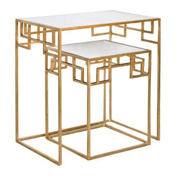 """Worlds Away - Worlds Away Nesting Tables-Available in Two Different Color, Gold Leaf - This lovely set of tables is a perfect solution when you may need two tables or just one table.  The tables are available in a Gold Leaf or Nickel finish and have mirrored tops.  The smaller table measures 15"""" X 15"""" X 20""""H and the larger table measures 24""""W X 16""""D X 26""""H."""