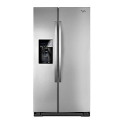 "Whirlpool - WRS537SIAF 36"" 27 cu. ft. Capacity Side-by-Side Refrigerator With FreshFlow Air - Get the most out of your freezer with the In-Door-Ice Plus ice dispensing system It creates 30 more usable space in the freezer and the bin tilts out or can be removed with one hand and placed on the counter to make filling glasses pitchers and coole..."