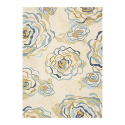 Colours Antique White 2 Hand Hooked Rug - An invigorating reimagining of old-world florals to suit the transitional interior, this rug from the Colours line relies on its motif of beautiful, ruffling layered petals suggested by sophisticated sweeps of blue, warm gold, and variegated beige on the antique white background.  Hand-hooked, the rug's looped pile suits the indoor and the outdoor home design and will weather the elements with grace.