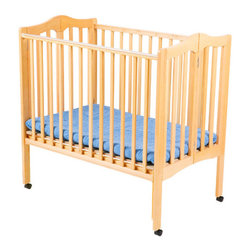 "Delta Children's Products - Portable Mini Crib - Features: -Fold-a-way portable crib.-Features two-position mattress support.-Lightweight multi-purpose crib.-Adjustable and easy to fold.-Meets and exceeds JPMA and CPSC standards for non-full size crib.-Easy for travel and storage.-Stationary front and back rail.-Non-toxic finish.-Non-drop side.-Not recommended for daycare use.-Product Type: Portable crib.-Design: Simple.-Style: Traditional.-Distressed: No.-Material: Wood.-Hardware Material: Metal.-Number of Items Included: 1.-Solid Wood Construction: Yes.-Reclaimed Wood: No.-Non Toxic: Yes.-Lead-Free: Yes.-Non-allergenic: No.-Water Resistant: No.-Scratch Resistant: No.-Stain Resistant: No.-Fire Resistant: No.-Finished Back: Yes.-Compatible Mattress Size: Portable.-Mattress Included: Yes -Mattress Air Vents: No.-Mattress Type: Foam.-Mattress Fill Material: Polyurethane..-Under Crib Storage: Yes.-Drop Side Crib: No.-Adjustable Mattress Height: Yes -Number of Mattress Height Settings: 2..-Conversion Set Available: No.-Convertible: No.-Life Stage: Baby.-Canopy: No.-Wheels/Castors: Yes -Locking Wheels: No..-Crib Feet: No.-Folding: Yes.-Rocking: No.-Toddler Safety Rail Available: No.-Changing Table Included: No.-Hamper Included: No.-Drawers Included: No.-Shelving: No.-Weight Capacity: 35 lbs.-Commercial Use: No.-Recycled Content: No-Remanufactured/Refurbished: No..-Eco-Friendly: Yes.-Product Care: Wipe clean and dry with a damp cloth.Specifications: -JPMA Certified: Yes.-ASTM Compliant: Yes.-CPSIA or CPSC Compliant: Yes.-Sixteen CFR Compliant: Yes.-General Conformity Certificate: Yes.-ISTA 3A Certified: Yes.Dimensions: -Overall Height - Top to Bottom: 37.25"".-Overall Width - Side to Side: 39"".-Overall Depth - Front to Back: 25"".-Height from Floor to Crib: 9"".-Height from Top of Bed to Top of Railing: 26"".-Changing Table: No.-Mattress: -Mattress Thickness: 1"".-Mattress Width - Head to Foot: 38"".-Mattress Depth - Front to Back: 24""..-Youth Bed: No.-Slatted: -Slat Thickness: 1.22"".-Space Between Slats: 2""..-Drawers: No.-Shelves: No.-Overall Product Weight: 44.1 lbs.Assembly: -Assembly Required: Yes.-Tools Needed: Phillips Screwdriver Required.-Additional Parts Required: No."