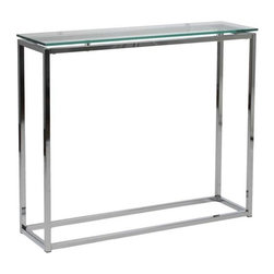 Eurostyle - Eurostyle Sandor Rectangular Console Table w/ Clear Glass Top & Chrome - Rectangular Console Table w/ Clear Glass Top & Chrome belongs to Sandor Collection by Eurostyle The proportions of these three tables (coffee, side and console) are iconic to say the least. Tops in clear or pure white glass float on perfectly geometric chrome steel bases. We're talking Museum of Modern art here. Not really. But it's the right thing to do. Console Table (1)