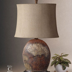 Uttermost - Uttermost 27998-1 Oval Semi-Drum Shade Table Lamp from the Yunu Collection - Uttermost 27998-1 Billy Moon Yunu Table LampHeavily distressed rusty brown with aged ivory details and burnished accents. The oval semi drum shade is oatmeal linen textile with natural slubbing.Features: