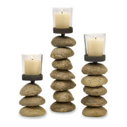 Imax Corp - Cairn Candleholders With Glass Votive Cups, Set of 3 - Rock textured set of 3 Candleholders