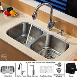 Kraus - 32 in. 50/50 Double Bowl Kitchen Sink with Faucet and Soap Dispenser - Add an elegant touch to your kitchen with unique Kraus kitchen combo