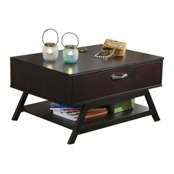 Bush - Bush Canted Cocktail/Coffee Table and Storage in Macchiata - Bush - Coffee Tables - UR8090503 - Coffee table or cocktail table? We say it depends on the time of day. This sturdy retro canted-style occasional table offers plenty of storage with an ingenious flip down drawer for remotes phones chargers or your DVD collection. Constructed of attractive wood veneer and finished in dark rich Macchiata. Designed to work great when space is limited.