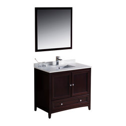 "Fresca - Fresca Oxford 36"" Mahogany Vanity - Dimensions of vanity:  36""W x 20.38""D x 32.63""H. Dimensions of mirror:  31.88""W x 31.88""H. Materials:  Solid wood frame, MDF panels, quartz stone countertop, ceramic undermount sink w/ overflow. Single hole faucet mount. 2 soft close doors. Soft close dovetail drawer. Seamless countertop w/ matching backsplash. P-trap, faucet, pop-up drain and installation hardware included. Blending clean lines with classic wood, the Fresca Oxford traditional bathroom vanity is a must-have for modern and traditional bathrooms alike.  The vanity frame itself features solid wood in a stunning mahogany finish that's sure to stand out in any bathroom and match all interiors.   Available in many different finishes and configurations."