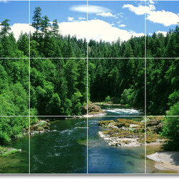 Picture-Tiles, LLC - River Scene Mural Tile R064 - * MURAL SIZE: 36x48 inch tile mural using (12) 12x12 ceramic tiles-satin finish.
