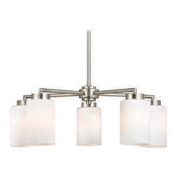 Design Classics Lighting - Modern Chandelier with White Glass in Satin Nickel Finish - 590-09 GL1028C - Finish your nouveau dining room with the modern chandelier in satin nickel finish by Design Classics. This modern chandelier is stem hung for a futuristic feel with clean, crisp lines. The white glass shades are white scallop art glass and the satin nickel finish is the cutting edge look for new homes. The hand-blown glass shades are pointed down. Takes (5) 100-watt incandescent A19 bulb(s). Bulb(s) sold separately. UL listed. Dry location rated.