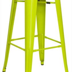 Chintaly Imports - Alfresco Galvanized Steel Bar Stool in Lime Green - Set of 4 - Alfresco Galvanized Steel Bar Stool in Lime Green - Set of 4