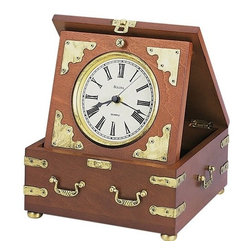 Edinbridge Tabletop Clock - Wood and wood veneer case, rustic walnut finish. Antique metal accents and handles.