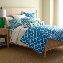 "Horchow - Twin Zigzag Quilt, 68"" x 86"" - Wake up your bedroom with the eye-opening graphics and fun design details of Skylar bed linens. All of cotton, in a blue, green, and white palette. Printed European shams are framed with white borders. White quilts and matching shams have zigzag pic..."