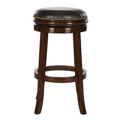 Safavieh - Biagio Bar Stool - A transitional update of the classic British pub stool, the backless Biagio swivel barstool is crafted of eco-friendly rubberwood in espresso finish with dark brown PU leather and bronze nailhead trim. Slightly splayed legs give a fresh new look.