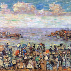 """Art MegaMart - Maurice Prendergast Beach at St. Malo - 20"""" x 25"""" Premium Canvas Print - 20"""" x 25"""" Maurice Prendergast Beach at St. Malo premium canvas print reproduced to meet museum quality standards. Our museum quality canvas prints are produced using high-precision print technology for a more accurate reproduction printed on high quality canvas with fade-resistant, archival inks. Our progressive business model allows us to offer works of art to you at the best wholesale pricing, significantly less than art gallery prices, affordable to all. We present a comprehensive collection of exceptional canvas art reproductions by Maurice Prendergast."""