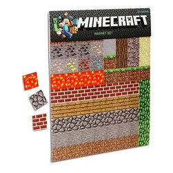 "KOOLEKOO - Minecraft Sheet Magnets - In each pack of Minecraft Refrigerator Magnets, you will receive two magnetic sheets packed with 80 colorful, classic blocks. Use the magnets to hold up printouts of treasured screenshots of your vacation on that island covered with snow. Share your schematics for your next fortress with the whole family. Or play a rousing game of ""name that data value!"" Official, licensed Minecraft product! Two magnetic sheets with 80 1-inch square blocks each!Each sheet includes a number of items from coal, to trees, to leaves and dirt!"