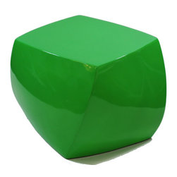 Fine Mod Imports - Cube Ottoman Green - The Cube Ottoman is unique with a sleek surfaces & flowing lines in a high gloss finish. The Cube is a sculpture in any space for indoors and outdoors.