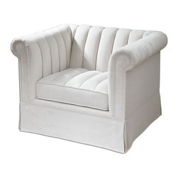 "Uttermost - Uttermost 23155  Evania White Tufted Armchair - Creamy-white, neutral linen in a soft and durable blend graces this update on classic chesterfield style, refreshed with streamlined channel tufts over traditional rolled arms and back, and attached welted box cushion. pleated skirt falls over solid wood frame with built-in leg construction. seat height is 19""."