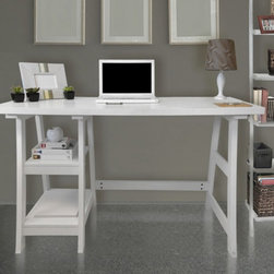 Convenience Concepts - Convenience Concepts Designs2Go Trestle Writing Desk - White - 090107W - Shop for Desks from Hayneedle.com! The simple contemporary style of the Convenience Concepts Designs2Go Trestle Writing Desk - White is just the thing to make that room pop. Made from wood solids and veneers this desk comes in an eye-catching white. The pair of open shelves provide ample storage and the large top makes for great work space.About Convenience ConceptsIf you're looking for forward-thinking designs at affordable prices you can count on Convenience Concepts. Sensible contemporary furniture that's easy and ready to assemble all of the products created by Convenience Concepts are quality-driven and will add flair to your living spaces.