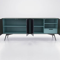 Christopher Sideboard by ModLoft - The Christopher Sideboard Buffet offers simple, refined design. Four reflective slate mirror doors with European push-open hardware add edgy appeal tempered by elegant powder coated legs. Ample compartment and drawer storage as well as adjustable shelving add up to a dinnerware dream, while a two-tone (interior-exterior) matte lacquer finish creates unexpected dynamic contrast. Available in a two-tone matte lacquer finishes, Asphalt exterior with Nile Blue interior, or White exterior with Steeple Gray interior. Arrives assembled.
