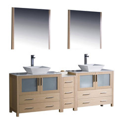 """Fresca - 84 Inch Double Sink Bathroom Vanity in Espresso, Light Oak, White Ceramic Vessel - Fresca is pleased to usher in a new age of customization with the introduction of its Torino line.  The frosted glass panels of the doors balance out the sleek and modern lines of Torino, making it fit perfectly in either Town or Country decor.  Available in the rich finishes of Espresso, Glossy White and Light Oak, all of the vanities in the Torino line come with either a ceramic vessel bowl or the option of a sleek modern ceramic undermount sink. Dimensions: 83.5""""W X 18.13""""D X 35.63""""H (Tolerance: +/- 1/2""""); Counter Top: White Ceramic ; Finish: Light Oak; Features: 4 Doors, 7 Drawers; Hardware: Chrome; Sink(s): 16"""" X 16"""" X 5"""" White Ceramic Vessel Sink; Faucet: Pre-Drilled for Standard Single Hole Faucet (Included); Assembly: Light Assembly Required - Item Ships in 3 Pieces; Large cut out in back for plumbing; Included: Cabinet, Sink, Choice of Faucet with Drain and Installation Hardware, Mirror (31.5""""W X 1.25"""" X 31.5""""H); Not Included: Backsplash"""
