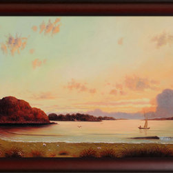 "overstockArt.com - Heade - Dawn (Affordable Line) with Oxblood Scoop - This painting is part of our ""Affordable Line"". It is made of the same hand painted oils on canvas, but is an economical alternative to our higher quality oil paintings. This is a remarkable oil painting reproduction of a Martin Johnson Heade original Dawn. Today it has been reproduced with exceptional use of color, detail and brush strokes. This oil painting has an inspiring setting that is sure to bring many admirers. Martin Johnson Heade was a prolific American painter known for his salt marsh landscapes, seascapes, portraits of tropical birds, as well as lotus blossoms and other still life images. His painting style and subject matter, while derived from the romanticism of the time, Heade's work was not widely known during his life time. However, his work did attract scholars, art historians, and collectors during the 1940s. He quickly became recognized as a major American artist. Frame Description: Opulent Frame - Dark Stained Wood Gold Trim Framed painting size (not including frame): Large 24"" X 36"" CloseoutDeals:Dawn(AffordableLine). Framed Oil reproduction of an original painting by Martin Johnson Heade"