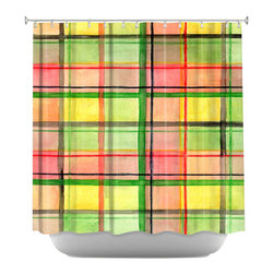DiaNoche Designs - Shower Curtain Artistic - Ferrari Plaid - DiaNoche Designs works with artists from around the world to bring unique, artistic products to decorate all aspects of your home.  Our designer Shower Curtains will be the talk of every guest to visit your bathroom!  Our Shower Curtains have Sewn reinforced holes for curtain rings, Shower Curtain Rings Not Included.  Dye Sublimation printing adheres the ink to the material for long life and durability. Machine Wash upon arrival for maximum softness on cold and dry low.  Printed in USA.