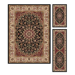 Tayse Rugs - Elegance Black and Red Area Rug Sets Three Piece Set - - The detailed oriental medallion design of this area rug make a statement of elegance to any room. Soft polypropylene fibers make it soft, warm, and easy to clean. Rich hues of black, gold, red and ivory. Vacuum and spot clean.  - Square Footage: 47  - Pattern: Oriental  - Pile Height: 0.39-Inch  -3 piece rug collection: 5? x 7?, 20 x 60, and 20 x 32 Tayse Rugs - 5393  Black  3 Pc. Set