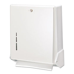 SAN JAMAR DISPENSER - True Fold Metal Front Cabinet Towel Dispenser, 11 5/8 X 5 X 14 1/2, White - Flip-door feature allows instant transformation to a C-Fold or Multifold dispenser. Holds 300 C-Fold or 500 Multifold towels. Lockable. Break-resistant plastic back. Towels Dispensers Type: Folded Towel Dispenser; Material(s): Metal.