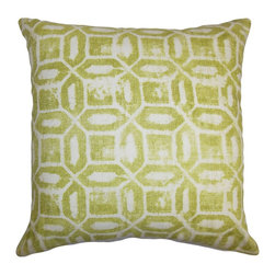 The Pillow Collection - Darina Geometric Pillow Green Natural - Decorate your room with a contemporary style by adding this plush decor pillow. This throw pillow makes a great statement piece to any of your rooms. The square pillow features a geometric pattern in shades of green and natural. Lend a crisp and sleek look to your sofa, chair or bed with this plush accent pillow. Made from a combination of 55% linen and 45% cotton fabric. Hidden zipper closure for easy cover removal.  Knife edge finish on all four sides.  Reversible pillow with the same fabric on the back side.  Spot cleaning suggested.