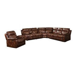 """Acme - 3 PC Dyson Collection Light Brown Polished Microfiber Upholstered Sectional Sofa - 3-Piece Dyson collection light brown polished microfiber upholstered sectional sofa set with recliner ends. This set includes the sofa and love seat with center console with recliners on both ends and the corner wedge. Sofa measures 86"""" x 37"""" x 39"""" H. Love seat measures 77"""" x 37"""" x 39"""" H. Corner wedge measures 64"""" x 37"""" x 39"""" H. This set can be arrange with sofa and love seat on either side of the wedge. Chair also available separately at additional cost. Some assembly may be required."""