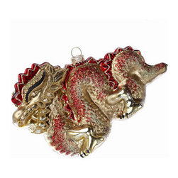 Chinese Dragon Ornament - This beautiful Chinese dragon ornament is covered in gold and glitter.