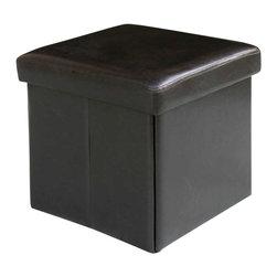 Modus Furniture - Modus Urban Seating Folding Storage Cube in Chocolate Leatherette - Modus Furniture - Ottomans - 5G0892A