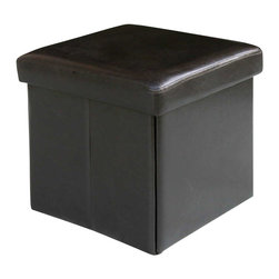 Modus Furniture - Modus Urban Seating Folding Storage Cube in Chocolate Leatherette - Modus Furniture - Ottomans - 5G0892A