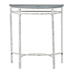 Safavieh - Livana Demilune Console - The petite Livana demilune console, with its blue top and white distressed metal base, flirts with romance and femininity. A signature of the French country style, the vintage, distressed finish looks like the piece has been handed down through the ages. Minor assembly required.
