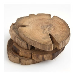 Teak Wood Coasters, Set of 4 - These wood coasters have that wonderful rustic look; they're perfect for making you feel warm in the cold winter season. Bringing a bit of nature indoors is a simple way to make a home feel so cozy.
