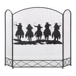 Gifts Galore And More - Cowboy Round-up Fireplace Screen - Five cowboys are about to finish their work for the day, riding fast and rounding up their livestock, which is artistically rendered on the rustic fireplace screen.  The mesh center panel features the cowboy scene that will be beautifully baacklit  by the flickering flames in your fireplace.  The screen's tri-fold construction allows you to fit this accent in your decor with ease.
