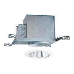 Juno Lighting Group - 4-inch Recessed Lighting Kit with Clear Alzak Trim - IC1/17C-WH - This recessed lighting kit features 4-inch insulation-ready housing and a clear Alzak� cone trim with white trim ring. The housing can be completely covered with insulation. It is air-tight which reduces heating and cooling costs. The hangers are expandable up to 25 inches. Alzak� is an anodized, hand-polished aluminum reflector with superior glare reduction. Takes (1) 50-watt halogen PAR20 bulb(s). Bulb(s) sold separately. Damp location rated.