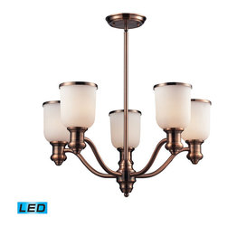 Elk Lighting - Landmark Lighting Brooksdale 66183-5-LED 5-Light Chandelier in Antique Copper - 66183-5-LED 5-Light Chandelier in Antique Copper - LED - 800 Lumens belongs to Brooksdale Collection by Landmark Lighting Blending Vintage Design Elements With Today��_��_��_��_��_��_S Casual Living, The Brooksdale Collection��_��_��_��_��_��_S Functional Beauty Allows For Use In A Variety Of Decors. Choose The Finish That Best Reflects Your Style; Polished Chrome, Satin Nickel, Or Antique Copper With White Glass Or OiLED Bronze With Amber Glass. - LED, 800 Lumens (4000 Lumens Total) With Full Scale Dimming Range, 60 Watt (300 Watt Total)Equivalent , 120V Replaceable LED Bulb Included Chandelier (1)