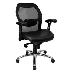 Flash Furniture - Mid-Back Super Mesh Office Chair with Black Italian Leather Seat and Knee Tilt C - This value priced mesh office task chair will accommodate your essential needs for your home or office. Chair features a breathable mesh back with a comfortably padded seat.